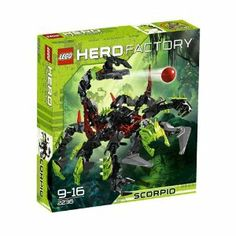 "LEGO Hero Factory SCORPIO 2236 by LEGO. $20.19. 104 Total Pieces. Put a sting in the tail of the heroes? mission. 13? (33 cm) long. Features heavy spike-plate armour, power pincers, tail shooter and corrupted Quaza. From the Manufacturer                ""Come in heroes!  We don't want to alarm you but a huge scorpion is headed your way!  With heavy spike-plate armor covering its body, power pincers, tail shooter and corrupted Quaza, this beast is going to make stopping Witch ..."