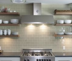 open shelves  over tiled wall