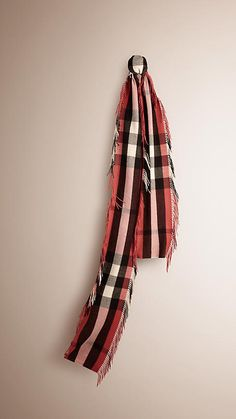 Burberry Antique Rose The Long Fringe Scarf in Check Cashmere - A long check scarf crafted from soft cashmere in Scotland with extra-long twist fringing along both sides. Discover the scarves collection at Burberry.com