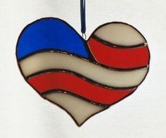 Stained Glass American Flag HeartCharity Donation by windflower, $12.00