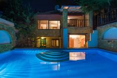 Villa Dimitra near the sea in Halkidiki, 137 sq. House Near The Sea, Aluminium Joinery, Home Phone, Security Door, Marble Floor, Private Pool, Jacuzzi, Beautiful Homes, Villa