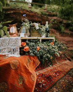 Michaela and Jay's Picturesque Elopement in Red Rock Canyon // Wedding Inspiration in Waterton, Alberta - Brontë Bride Wedding Themes, Wedding Colors, Palette Table, Photo Corners, Blue And Copper, Bohemian Bride, Flower Bouquet Wedding, Spring Flowers, Greenery