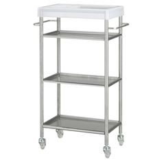 GRUNDTAL  Cart, stainless steel  $59.99  Article Number: 601.714.33  Easy to move - casters included. Removable shelves, easy to clean.