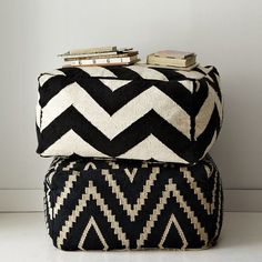 zigzag floor pouf | west elm
