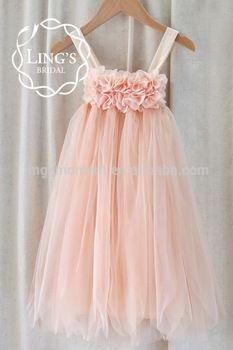 Peach Soft Tulle Chiffon Tutu Baby Girls Dresses with Cotton Lining