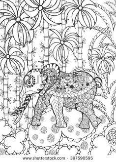 Zentangle stylized elephant in bamboo forest. Animals. Hand drawn doodle. Ethnic patterned illustration. African, indian, totem tatoo design. Sketch for avatar, tattoo, poster, print or t-shirt.