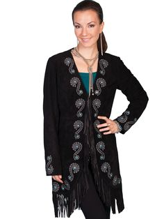 Leather Collection Jacket Suede  Scully Western Embroidered Car Coat Black  Brown Suede Jacket c94a788ca252