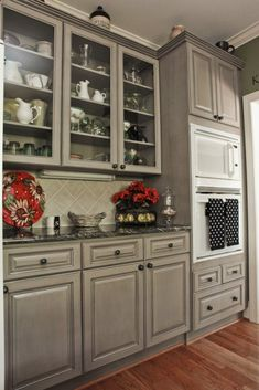 Gray cabinets to compliment the black countertops and white appliances that we already have. Gray cabinets to compliment the black countertops and white appliances that we already have. Glazed Kitchen Cabinets, Grey Cabinets, Refinished Kitchen Cabinets, Kitchen With Black Countertops, Dark Granite Countertops, Colored Cabinets, White Counters, Kitchen Redo, New Kitchen
