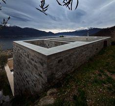 Stone House KÜ in Brione sopra Minusio, Ticino, Switzerland. Concrete Building, Brickwork, Interior Architecture, Living Spaces, Earth, Stone, Switzerland, Nature, Photography