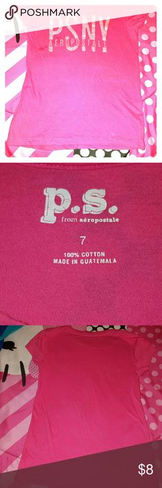 GIRLS SHORT-SLEEVED P.S. AEROPOSTALE SHIRT Pink on pink color girls short sleeve shirt from P.S. Aeropostale  Used and in ok condition Oil spot on right side but not noticeable Aeropostale Shirts & Tops Tees - Short Sleeve