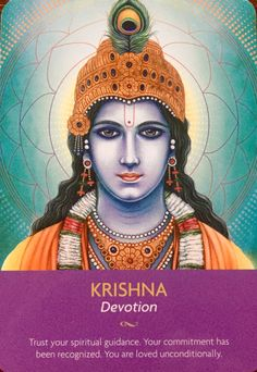 """March Daily Angel Oracle Card: Krishna ~ Devotion, from the Keepers Of The Light Oracle Card deck, by Kyle Gray, artwork by Lily Moses Krishna ~ Devotion: """"Trust your spiritual guidance. Your commi… Angel Guidance, Spiritual Guidance, Spiritual Images, Spiritual Connection, Deck Of Cards, Card Deck, Kyle Gray, Krishna Art, Lord Krishna"""