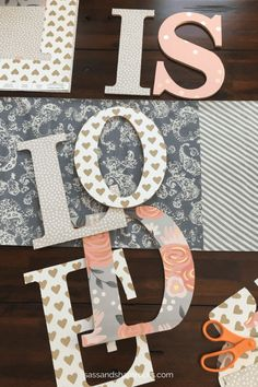 DIY Wood Letter Kids Name Decor DIY Nursery Name Art<br> Fun DIY name decor project to add personality to any baby's nursery or kid's room. Minimal supplies, time and energy required. Baby Name Letters, Diy Letters, Wood Letters, Wood Letter Crafts, Nursery Name Decor, Name Wall Decor, Nursery Ideas, Nursery Letters Girl, Girl Nursery
