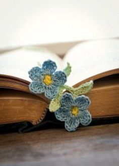 Handmade Crocheted Bookmark Forget Me Not Flowers