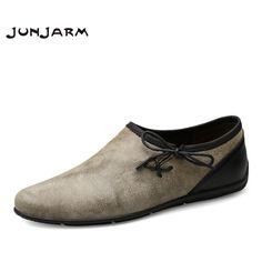 JUNJARM 2017 Brand Men Loafers Cow Suede Men Driving Shoes Genuine Leather Soft Men Boat Shoes Breathable Slip-On Men Moccasins #Affiliate