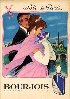 Vintage Bourjois * Evening in Paris * Advertisment. Vintage Labels, Vintage Ads, Vintage Images, Vintage Posters, French Posters, Bourjois Perfume, Perfume Adverts, Paris Illustration, Perfumes Vintage