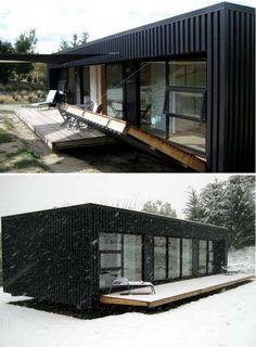 Diseño de pequeña casa contenedor con protección frontal