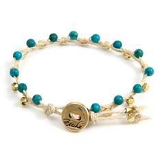 Turquoise and Gold beads Braided on White Waxed Linen Bracelet