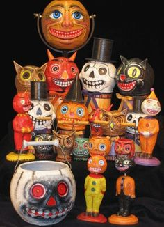 DIY Halloween paper mache Ideas to make and sell Retro Halloween, Vintage Halloween Images, Vintage Halloween Decorations, Halloween Ii, Halloween Items, Vintage Holiday, Halloween Cards, Holidays Halloween, Happy Halloween