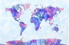 16 in x 24 in paint splashes world map 3 canvas art paint map of the world map watercolor painting by michael tompsett castellon gumiabroncs Images