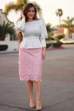 Annie peplum top (S-L) and Camille skirt (L & XL) available now!
