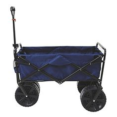 Mac Sports Heavy Duty Collapsible Folding All Terrain Utility Beach Wagon Cart BlueBlack >>> Visit the image link more details.