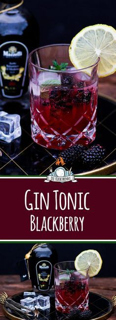 In drink 2017 - Gin Tonic Blackberry & Strawberry Mojito with .- In Getränk 2017 – Gin Tonic Blackberry & Erdbeer Mojito mit Mazzetti In drink 2017 – Gin Tonic Blackberry Lemon with Mazzetti l'originale - Gin Cocktail Recipes, Vodka Drinks, Party Drinks, Cocktail Drinks, Alcoholic Drinks, Wine Cocktails, Le Gin, Strawberry Mojito, Vol Au Vent