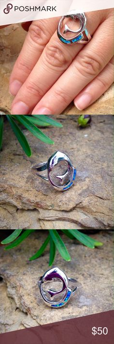 Blue opal cz sterling silver dolphin ring Dolphin ring with blue opal inlay a sterling silver filled setting with cubic zirconia accent. Jewelry Rings