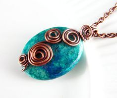 Wire Wrapped Necklace Jade and Copper Wire by PolymerPlayin