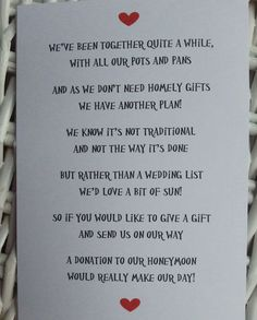 Love this wedding gift poem for honeymoon/money fund! Wedding List, Wedding Wishes, Our Wedding, Wedding Planner, Dream Wedding, Trendy Wedding, Wedding Gift Poem, Wedding Stuff, Low Budget Wedding