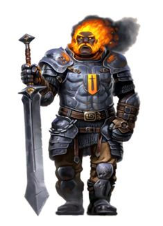 Male Fire Giant Fighter - Pathfinder PFRPG DND D&D 3.5 5th ed d20 fantasy