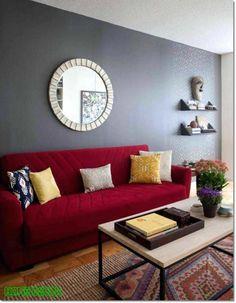 Top Modern Red Sofa Design Ideas for Living Room – Sofa Design 2020 Living Room Color Schemes, Paint Colors For Living Room, Living Room Designs, Grey Interior Paint, Home Interior, Interior Design, Red Couch Living Room, Living Room Furniture, Red Living Room Decor