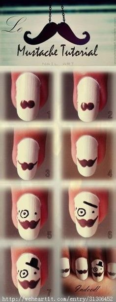 Now that's class! Super fun mustache nails.