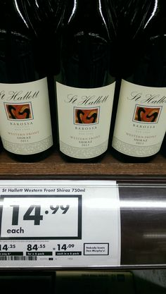 """The other St Hallett's I would happily drink is thier """"Western Front"""" Shiraz it is $15 and really quite delicious! Red Wines, Drinking, Packing, Bottle, Vest, Bag Packaging, Beverage, Drink, Flask"""