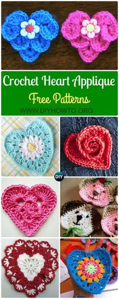 Crochet Heart Applique Free Patterns Collection: #Crocodile Stitch Heart, Granny Heart, Daisy Flower Heart, Rosy Heart, Lace heart, and more via @diyhowto