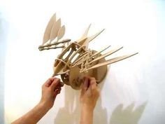 http://www.thecontraptuary.com/gift-shop/wing-mech-1 Build your own elegant flapping sculpture. Pieces slot together without glue Powered by a hand crank Mou...