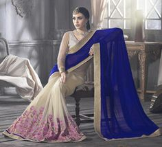 Off WhIte & Purple Color Georgette Designer Party Wear Sarees : Tanushri Collection  YF-38476