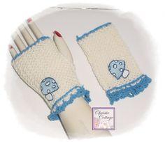 Fingerless Gloves - Gauntlets - Cream - Blue - Mushrooms | ChristieCottage - Knitting on ArtFire #bmecountdown