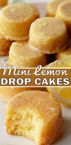 Lemon Drop Cake Recipe, Lemon Dessert Recipes, Baking Recipes, Mini Cake Recipes, Lemon Drop Cookies, Mini Desserts, Just Desserts, Plated Desserts, Dessert Simple
