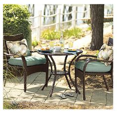 Nantucket Collection Woven Patio Bistro Set, PVC Wicker Frame With Polyester Pillows,