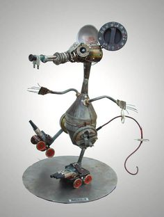 how to make scrap metal art Recycled Robot, Recycled Art, Repurposed, Arte Robot, Robot Art, Metal Projects, Metal Crafts, Art Projects, Bric À Brac