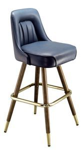 """The New York Bar Stool is sturdy and comfortable, with an inset channeled seat back and a hand-turned maple wood frame with a walnut finish. This commercial bar stool has a return swivel so the seat always faces front, a brass footrest, and brass ferrules with glides to protect your floors. The New York Wood Bar Stool is available in a variety of colors with a 30"""" seat height only. If you can make it here you can make it anywhere with the New York Bar Stool.  Seat Dimensions: 19"""" x ..."""