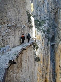 El Camino del Rey (King's pathway) - Málaga, Spain. The walkway is one meter (3 feet and 3 inches) in width, and rises over 100 metres (350 feet) above the river.  Would you dare to cross?