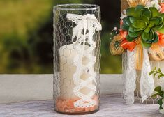 Chicken wire glass cylinder candle holder with lace