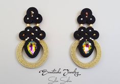 Unique handmade soutache Black and Gold earrings with colorful crystals