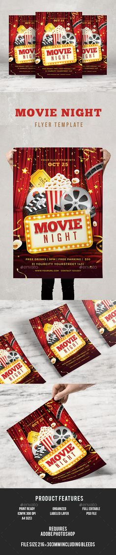 Movie Night Flyer  Flyer Template Template And Movie