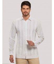 Formal wedding Guayabera shirt. Grooms. Men's Slim Fit Dress Shirt. Deluxe Linen 100 %.