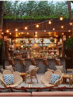 Bar Patio, Outdoor Garden Bar, Outdoor Restaurant Patio, Backyard Bar, Outdoor Cafe, Outdoor Dining, Outdoor Decor, Rustic Outdoor Spaces, Terrace Restaurant