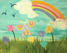 Butterfly Garden www.PoshinKids.com Paint Party, Easy Paintings, Color Show, Bugs, Mermaid, Doodles, Parties, Butterfly, Canvas
