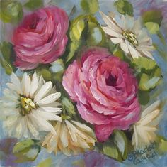 """Daily Paintworks - """"Rainy Day Roses"""" - Original Fine Art for Sale - © Bobbie Koelsch"""