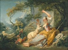 Jean-Honoré Fragonard (French, 1732-1806) The Shepherdess. I had a large, framed antique tapestry of similar design, lost in a fire, depicting frolics of the aristocracy dressed as shepherds and shepherdesses picnicking in the country.